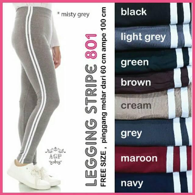 801 Legging List Putih Garis Dua Legging Wanita Legging Jumbo Shopee Indonesia