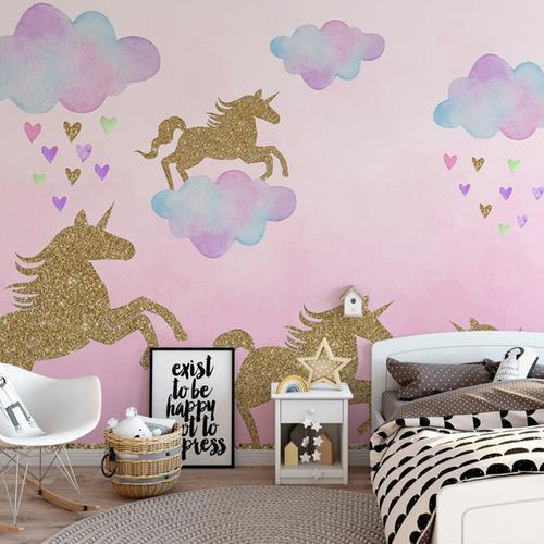 Stiker Dinding Motif Unicorn Warna Emas Untuk Dekorasi Kamar Anak Ks6629 Shopee Indonesia