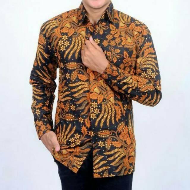 Kemeja Batik Lengan Panjang 052 Batik Modern  Batik Jokowi  Batik Solo Jogja  Pekalongan  Batik Murah  1a716a5217