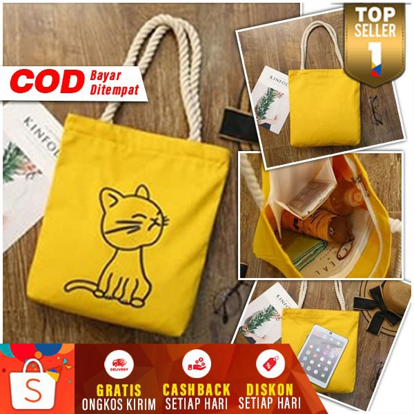 Tote Bag Wanita Motif Kucing & Kelinci Lucu Kekinian ...