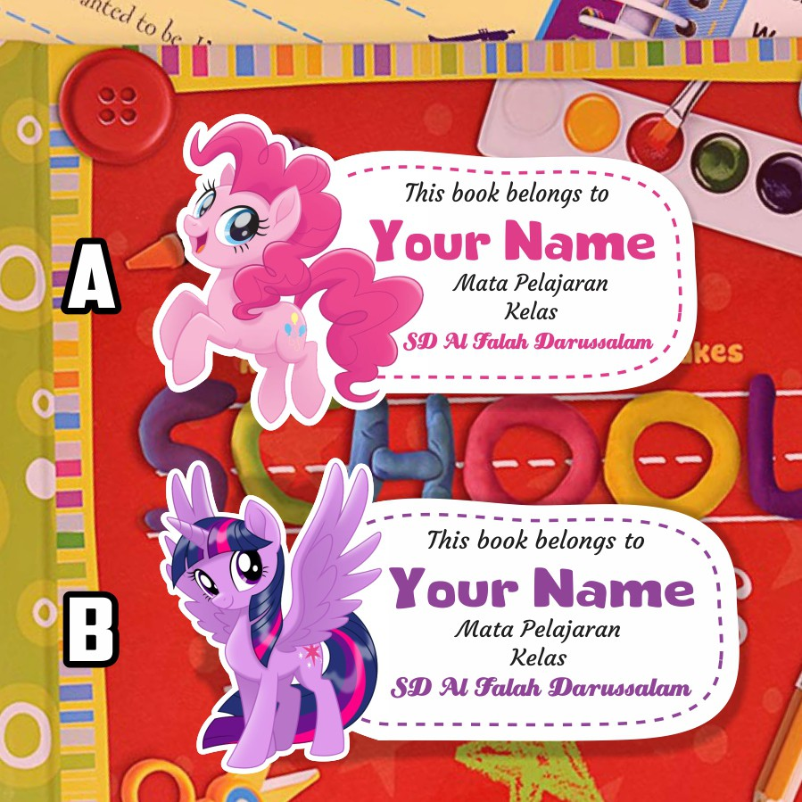 Stiker Nama Sampul Buku Tulis Tema Little Pony Cute Shopee Indonesia