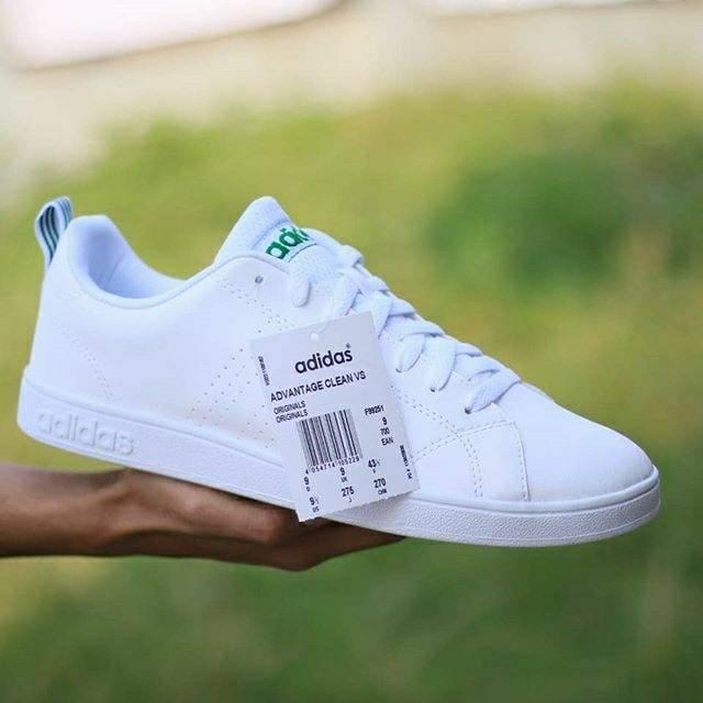 Sneakers Original (BNIB) Sepatu Casual Adidas Neo Advantage Clean VS White List Green