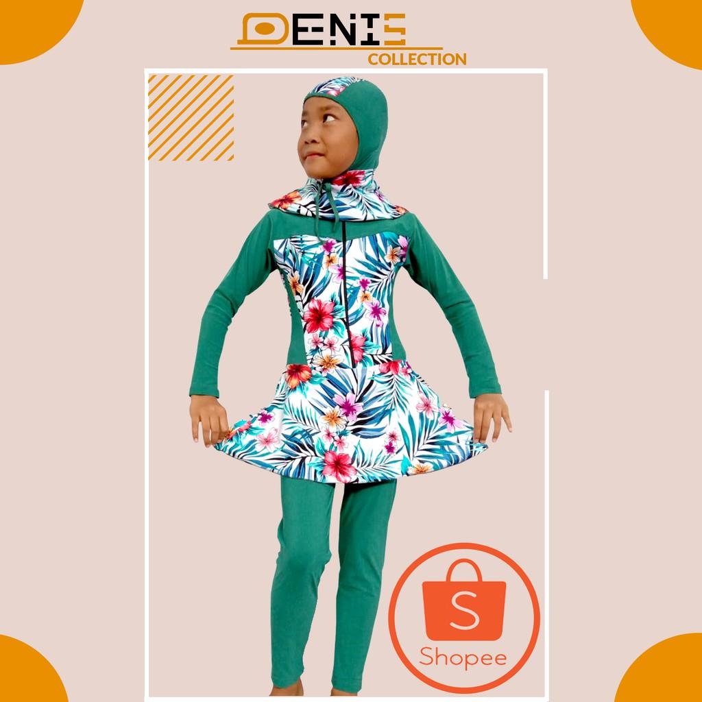 Baju Renang Anak Hijab Hijau Tosca Motif(RMA 8)