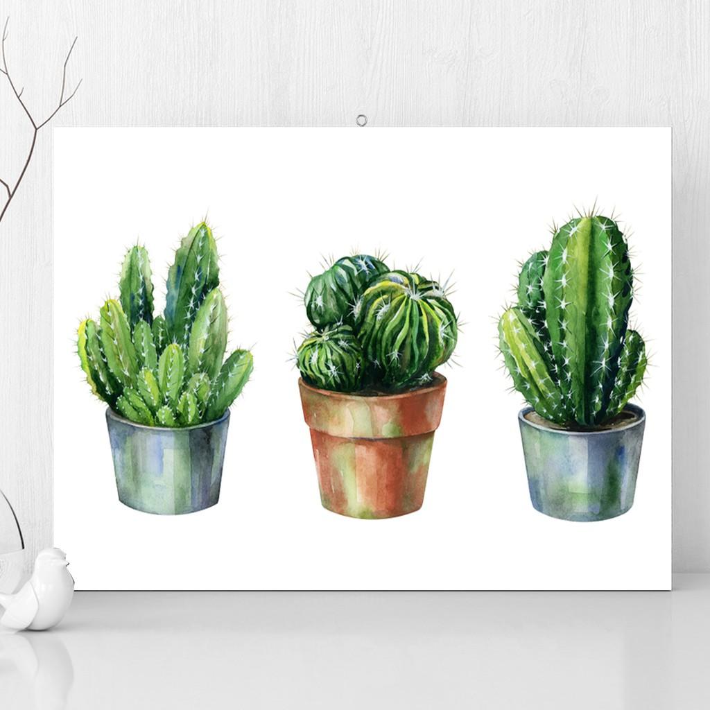 3 Watercolor Kaktus Pajangan Hiasan Dinding Shabby Chic Ukuran 30x20cm Walldecor