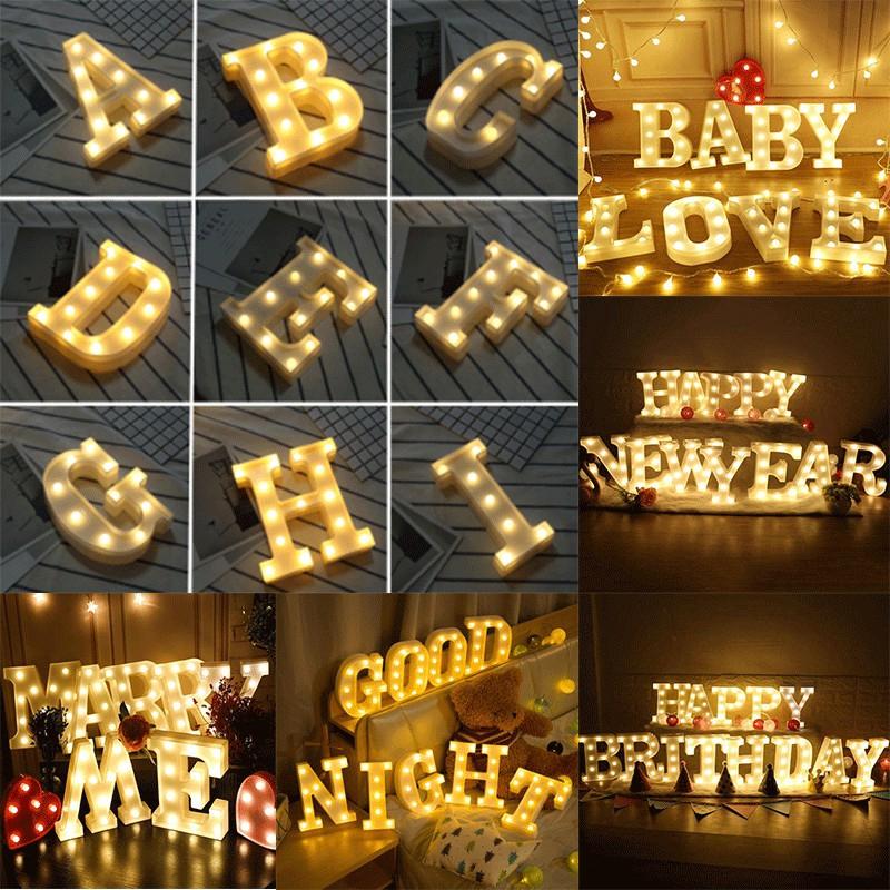 cod lampu malam led surat bahasa inggris alphabet sign cahaya