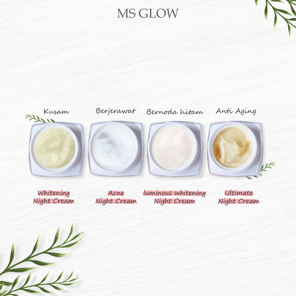 Ms Glow Night Cream Ultimate Acne Whitening Luminous Series Original Malam Shopee Indonesia
