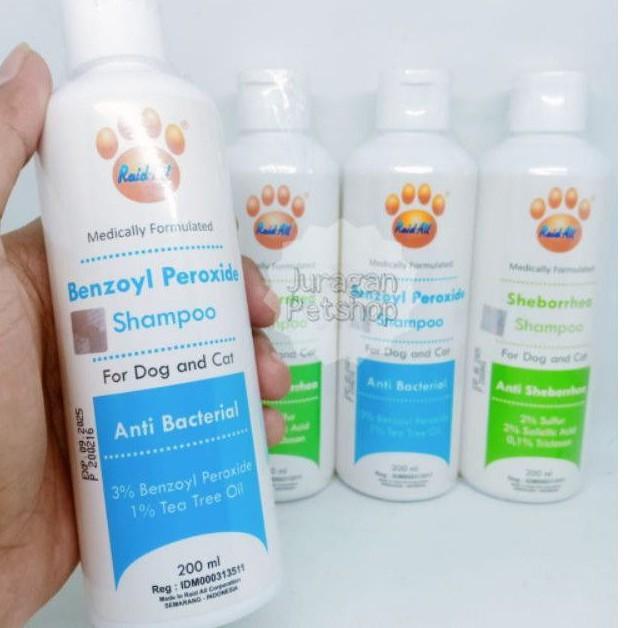 BENZOYL PEROXIDE SHAMPOO 200ml | Shampo Anjing/Kucing Anti Bakteri Kulit | Raid All Shampo