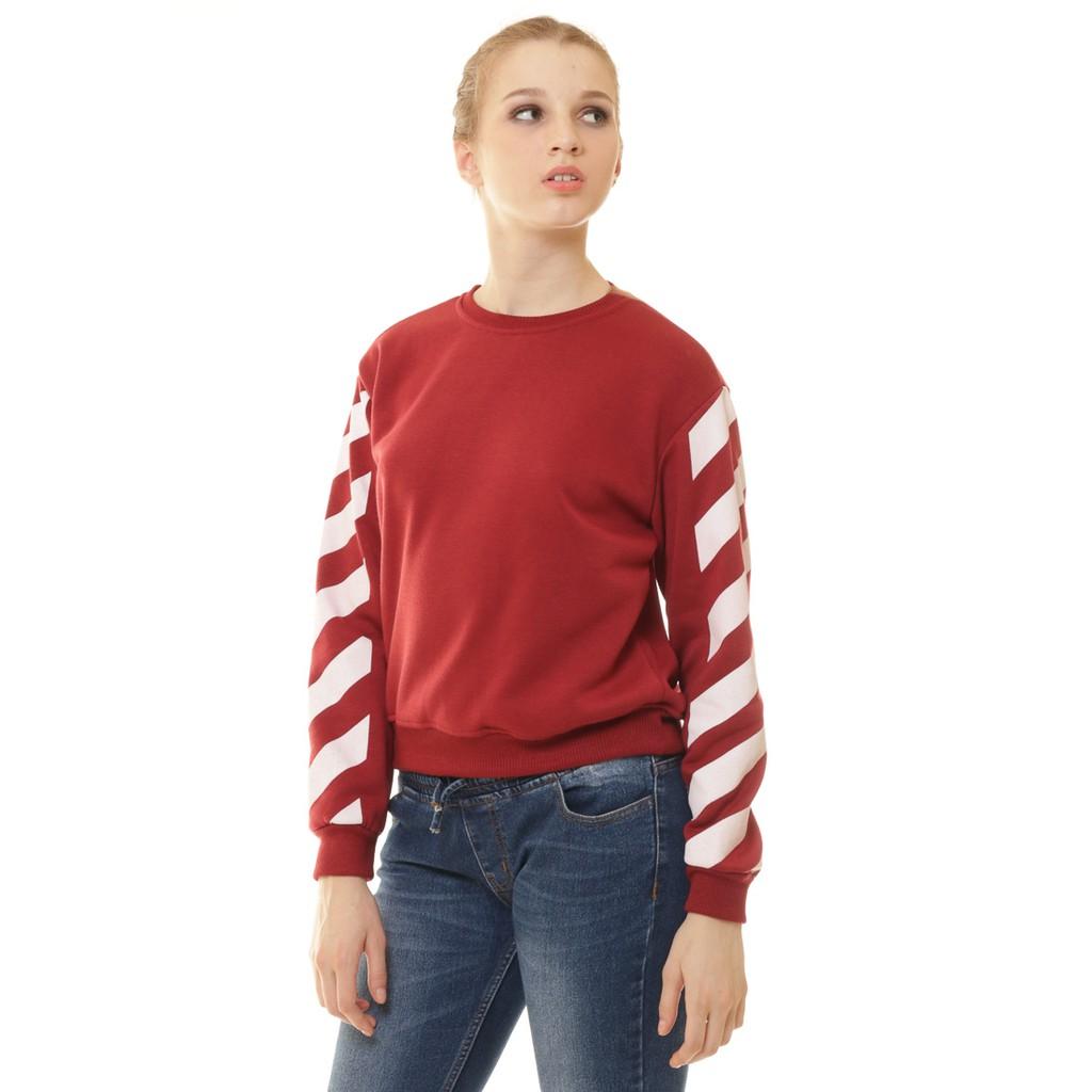 Tendencies Sweater Janice Stripes Navy Shopee Indonesia Tshirt Yuck Cat Hitam S