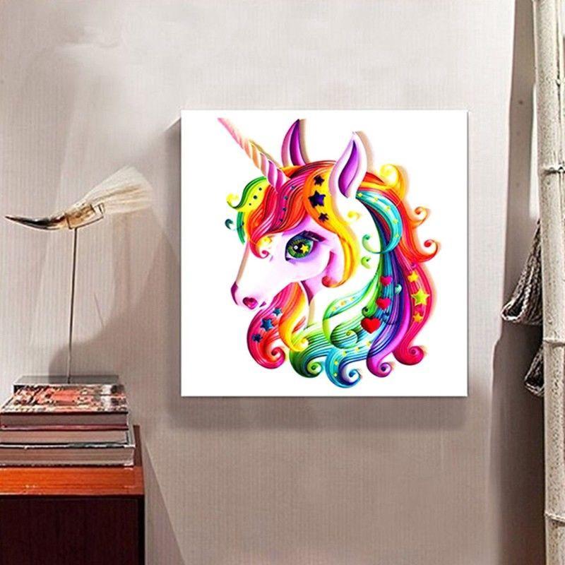 diy lukisan diamond 5d dengan gambar binatang unicorn