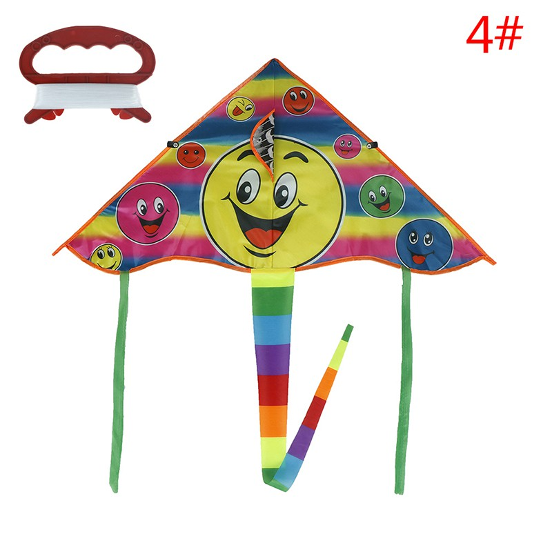 1Set 80*45cm Smiling face kite outdoor sports flying kites with 50m handle line