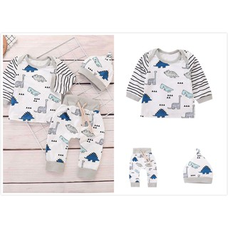 Newborn Baby Girls Boy Long Sleeve Dinosaur Striped Tops+Pants Cap Clothes Sets