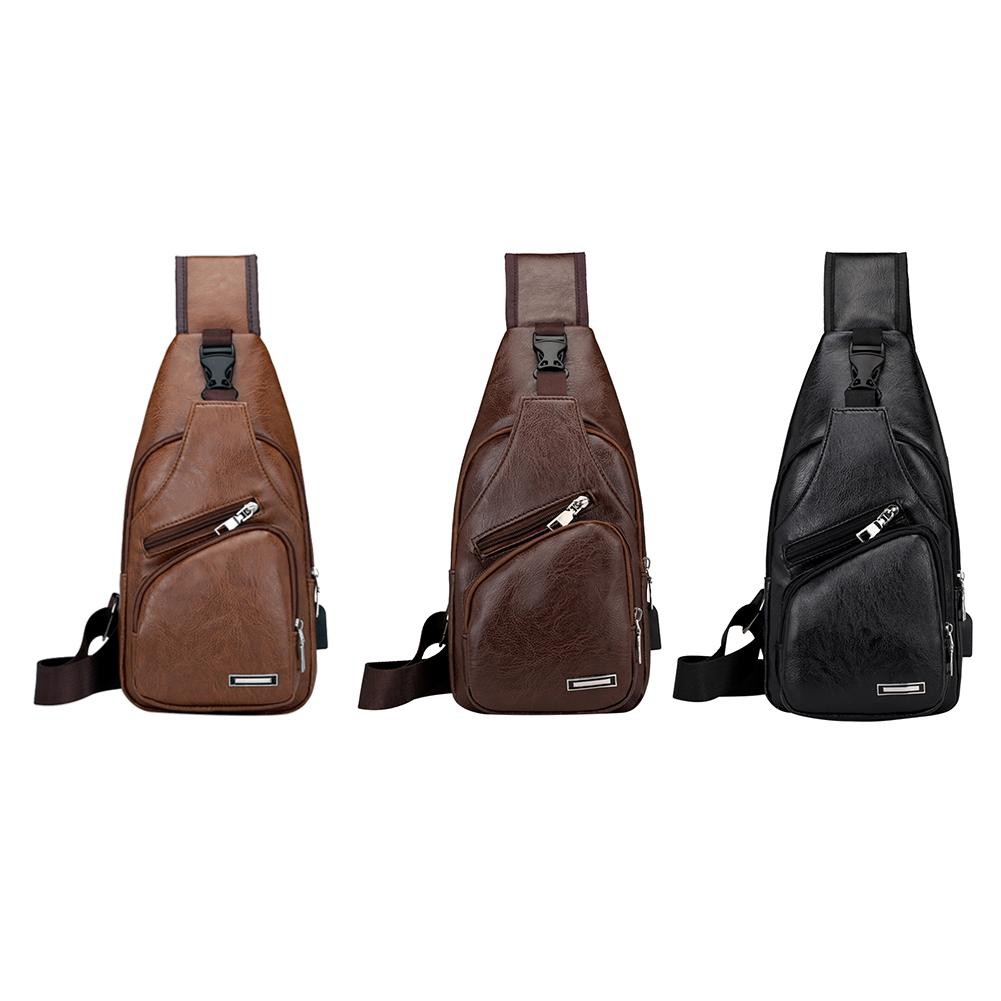 Men/'s Shoulder Chest Bags USB Charging Leather Crossbody Messenger Travel Pack