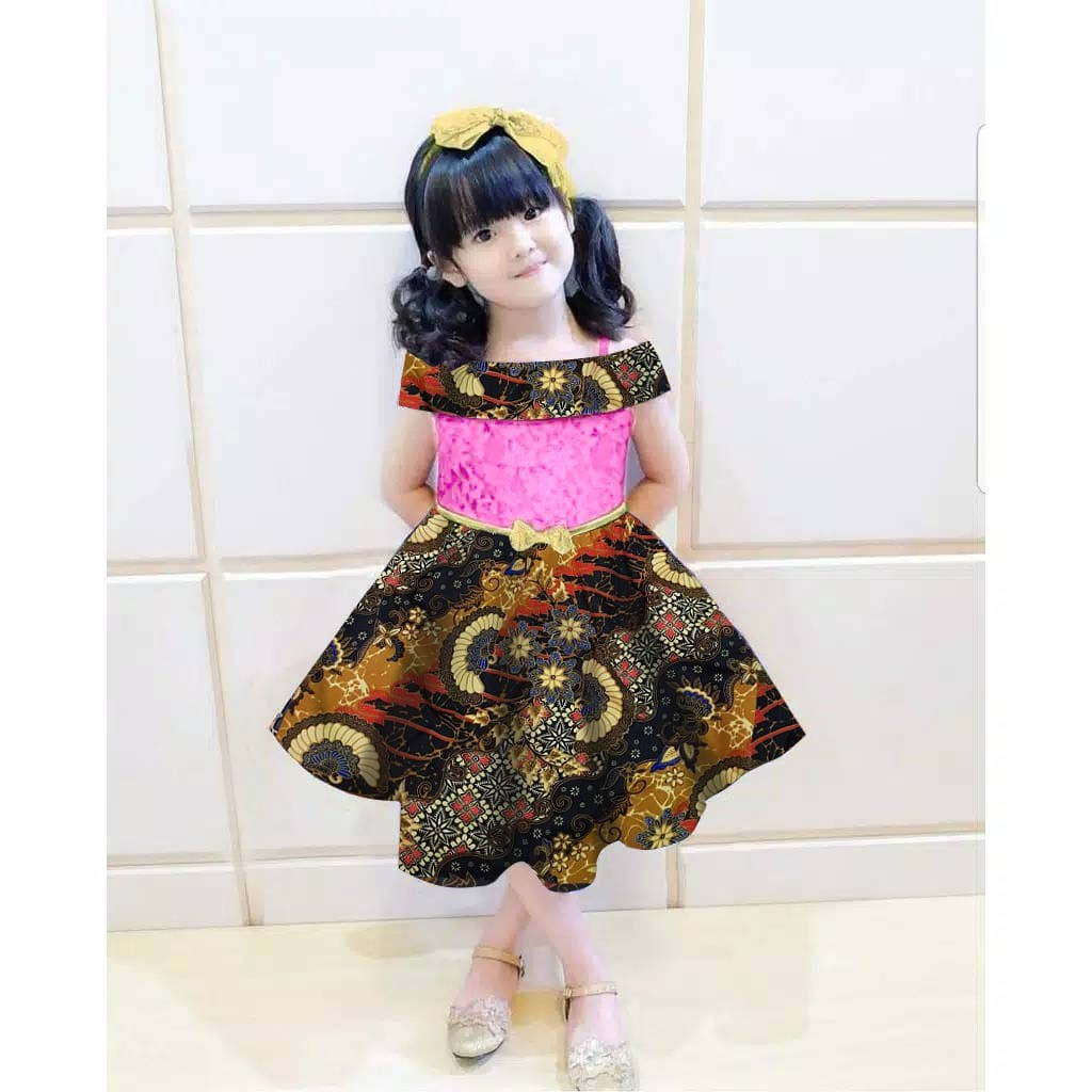 Set Cecilkid 4 Warna Fashion Anak Dres Batik Anak