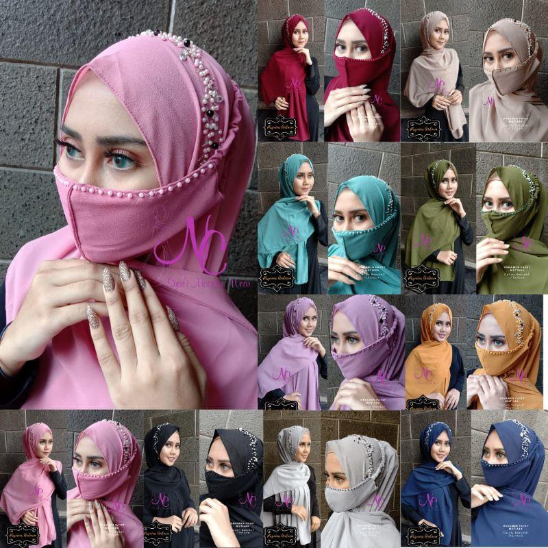 Pashmina Payet Manik Bling Model Terbaru Pasmina Tali CerutyBabydoll Hijab Pesta Mewah Set Masker