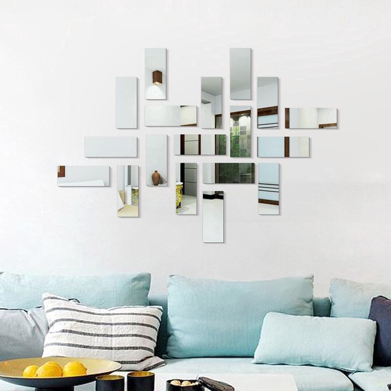 Rectangular Mirror Wall Stickers Acrylic Creative Diy Wall Decor Decoration Living Room Bedroom Shopee Indonesia