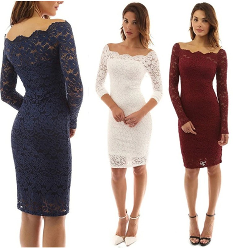 Knee Length Lace Dress Women Summer Long Sleeve Dresses Sexy Wine Red Elegant Party Off Shoulder Shopee Indonesia