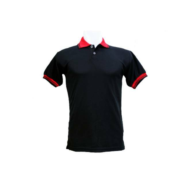 Polo Shirt Kaos Kerah Hitam Kombinasi Merah Baju Pria Cowok Polos Lacos Kaus Tangan Lengan Pendek
