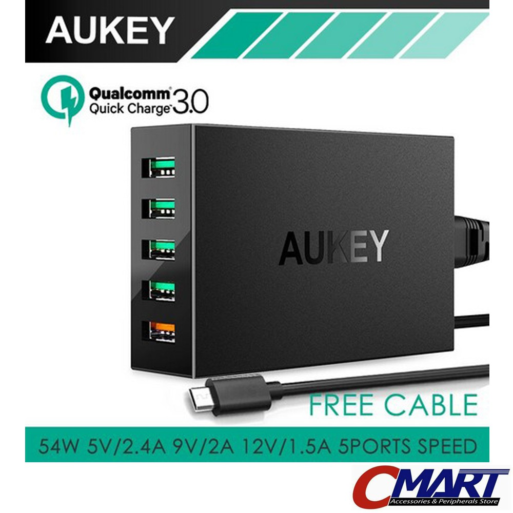 Aukey Quick Charge 30 Usb 5 Ports Free Micro Cable Shopee Signora Steamer Indonesia