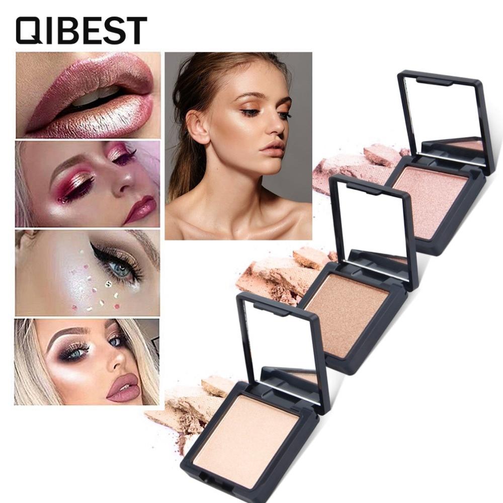 QIBEST Glow Kit Highlighter Makeup Shimmer Powder High lighter Palette Base Illuminator Pressed