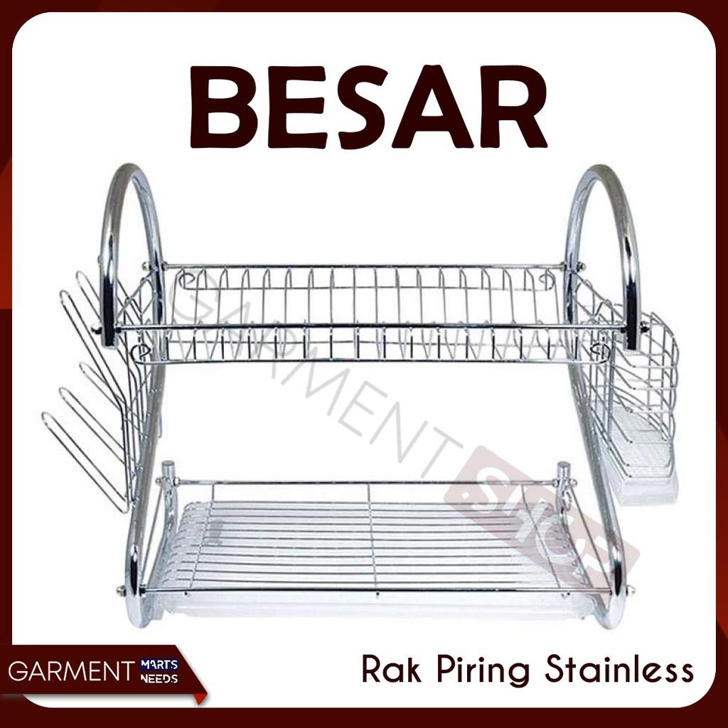 rak piring 2 susun layer tingkat stainless steel gelas dapur dish (1kg) | Shopee Indonesia