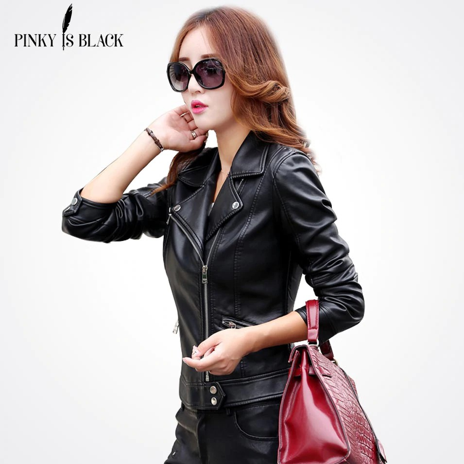 YUNY Womens Lapel Slimming Plus-Size Double Button Leather Coat Jacket Black 2XL
