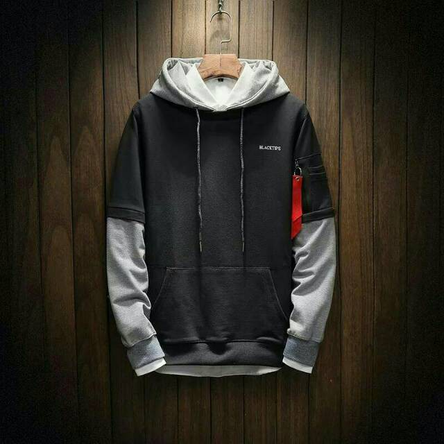 MODEL STYLE MOTIF ATTA HALILINTAR GEN TERBARU   Sweater Pria Blacktipe  Hodie Reglan Sweater Fleece  4fa377359f