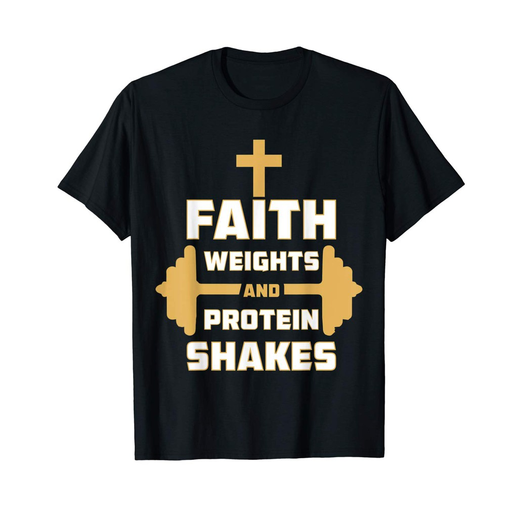 Funny Christian Fitness Shirt Faith Weights Protein Shakes Birthday Present Black Shopee Indonesia