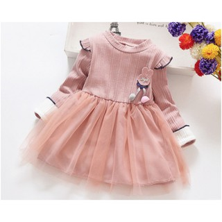 Babyfit F1 GREY PINK ANGEL Baju Dress Anak Perempuan Import