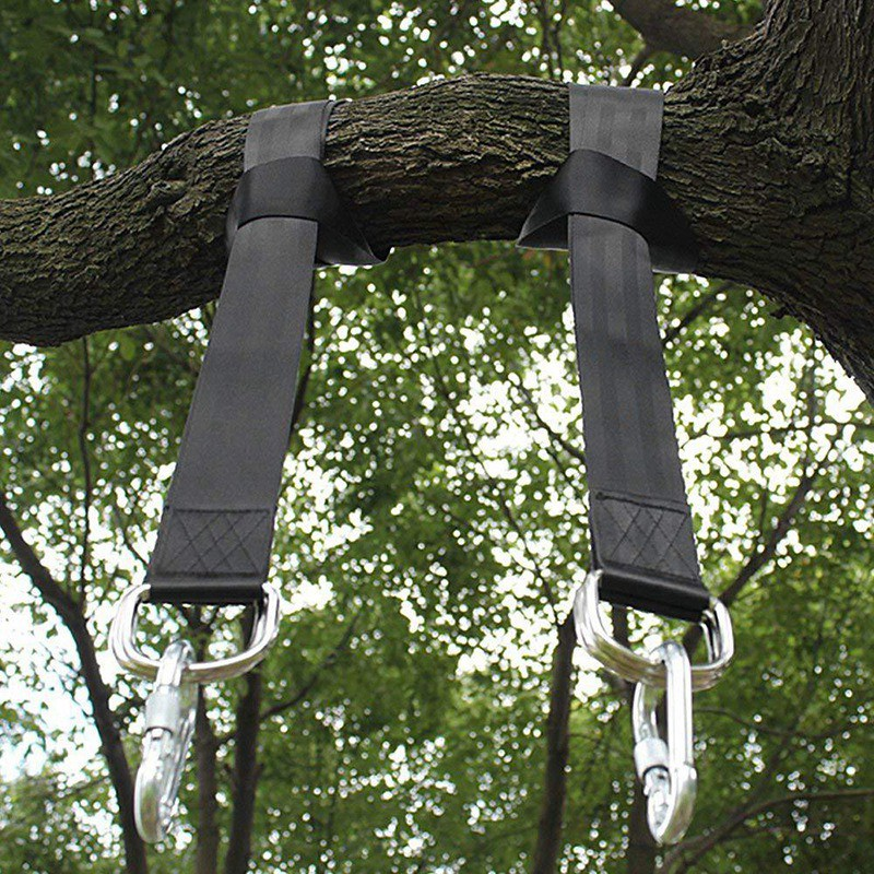 Tree Suspension With 2 D Ring Carabiner Outdoor Swing Hangers And Hammock Chair Sling Rope Kit Shopee Indonesia