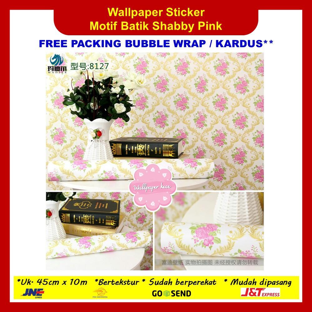 Aksesoris dinding Wallpaper Sticker Tembok 45cm x 10m Batik Shabby Pink Dekorasi Hiasan Cantik | Shopee Indonesia