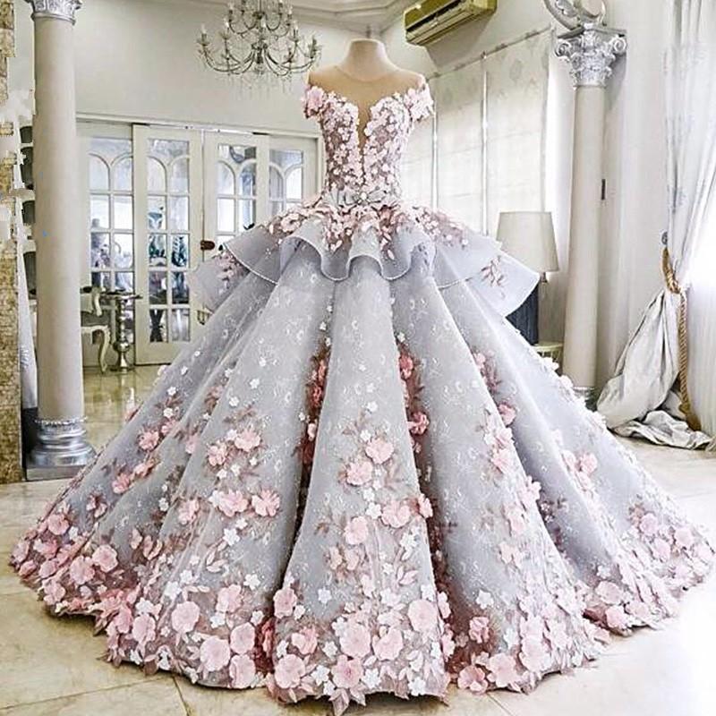 1611006 Grey Pink Ekor Hq Gaun Pengantin Ekor Baju Pengantin Wedding
