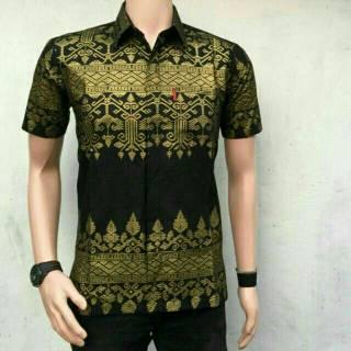 HB 243 Kemeja Hem batik pria tangan panjang prodo kondangan kerja baju pria  lengan hitam black gold  70d3cd0804