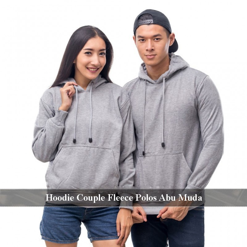 sweater couple fleece polos termurah| HOODIE berukuran M.L.XL | HOODIE FLEECE polos abu muda | Shopee Indonesia