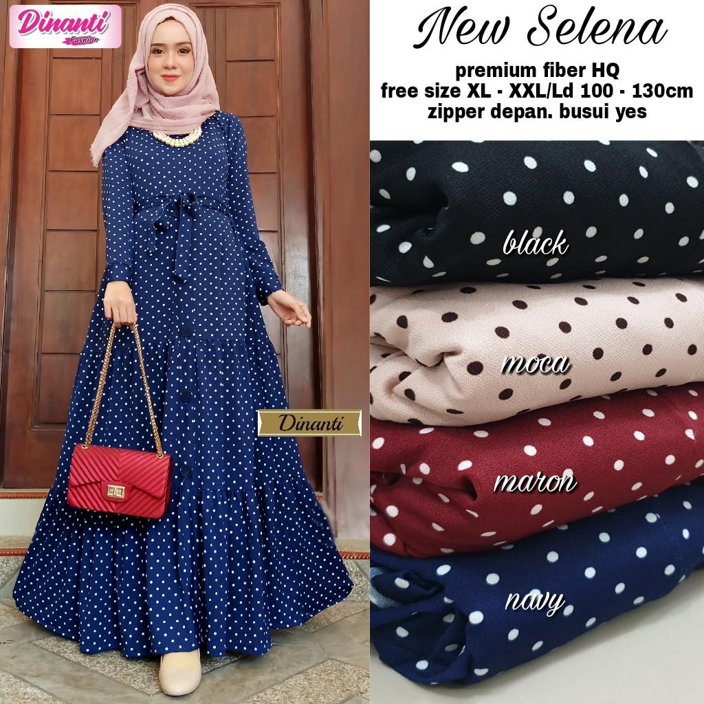 New Selena Dress Motif Polkadot Gamis Wanita Kasual Terbaru 2020 Shopee Indonesia