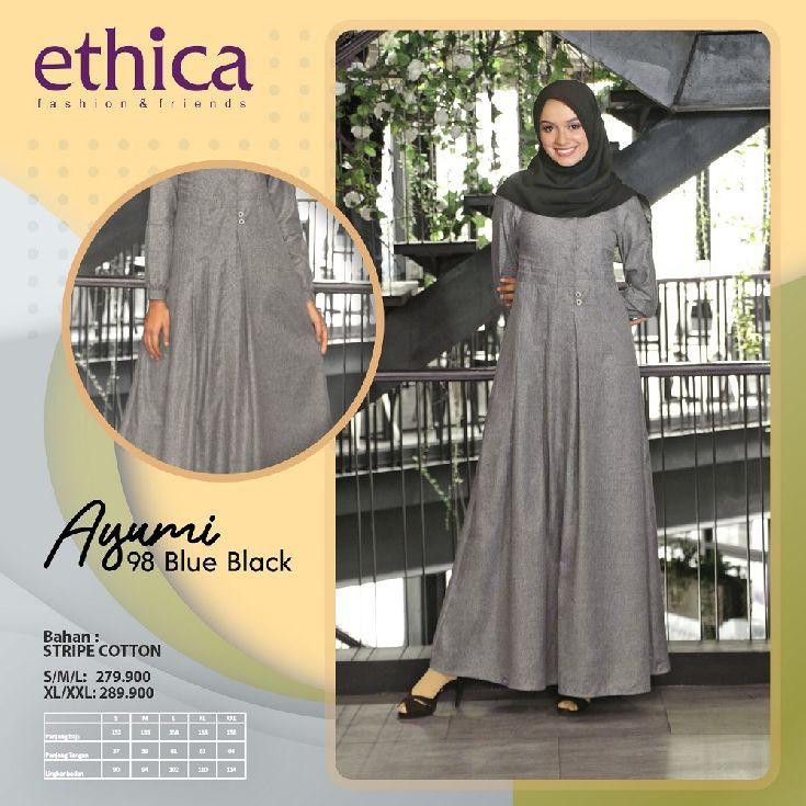 Gamis Ethica Ayumi 98 Olive Blue Black Shopee Indonesia