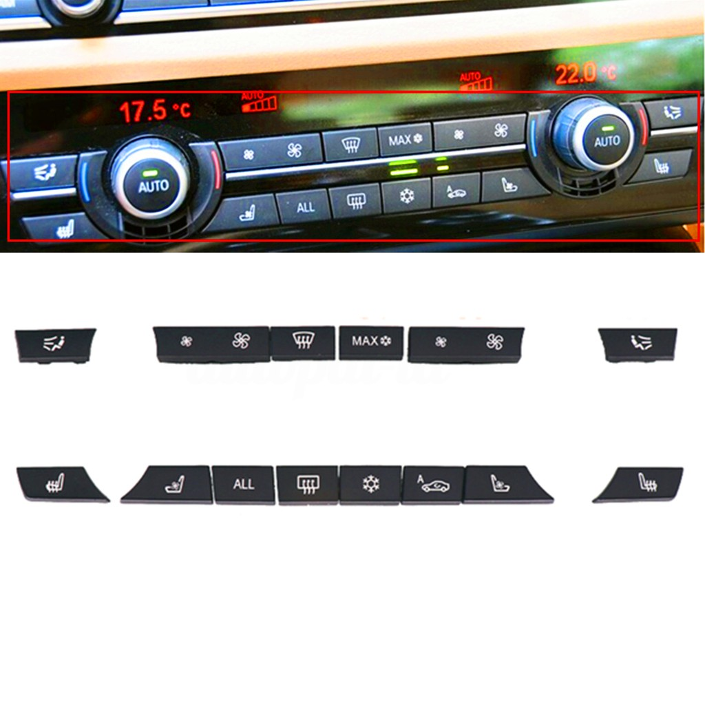 14 Button Cap Cover A//C Heater Switch Climate Control for BMW 5 6 7 F10 F01 F12 Black