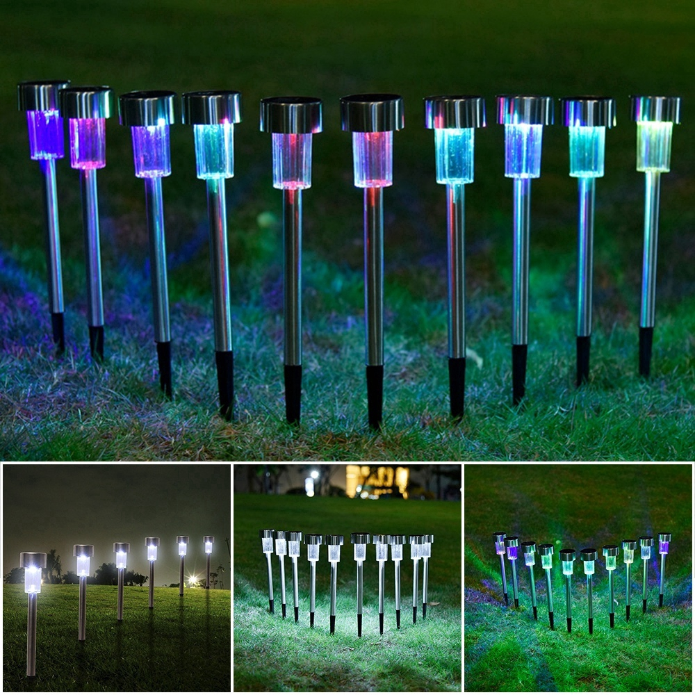 10 Solar Powered Garden Lights Post Patio Outdoor Led  Stainless Steel New SS