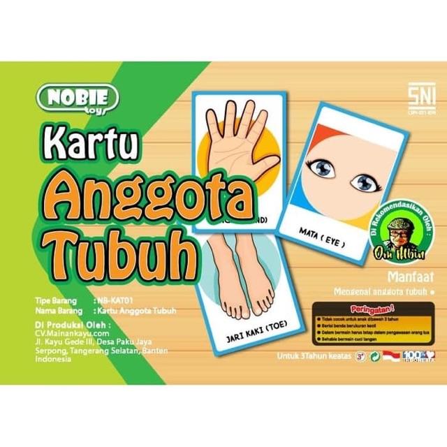 Mainan Edukasi Anak Kayu Flash Card Kartu Anggota Tubuh Shopee Indonesia