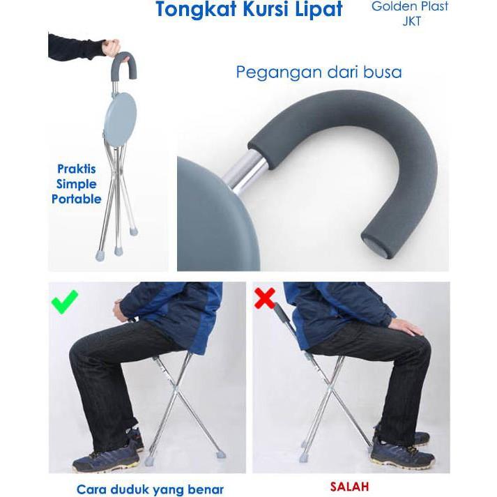 Tongkat/ Teken Orang Tua Alat Bantu Jalan Warna Coklat Tua Kayu Jati Harga Murah -