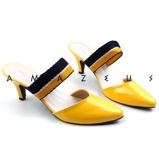 Amazeus Malea Sepatu Pump High Heels Murah Wanita Kuning Hitam Cream Merah | Shopee Indonesia