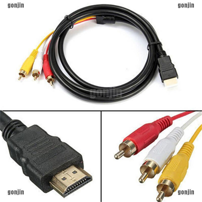 1 5m 5ft Kabel Hdmi Ke 3 Rca Video Audio Converter Av Adapter Shopee Indonesia