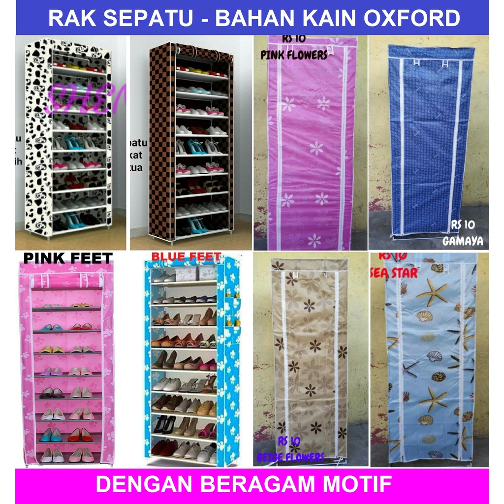 RAK SEPATU KAIN OXFORD 10 SUSUN (2KG)-RS10 OX (BLUE FEET) SHENAR   Shopee Indonesia
