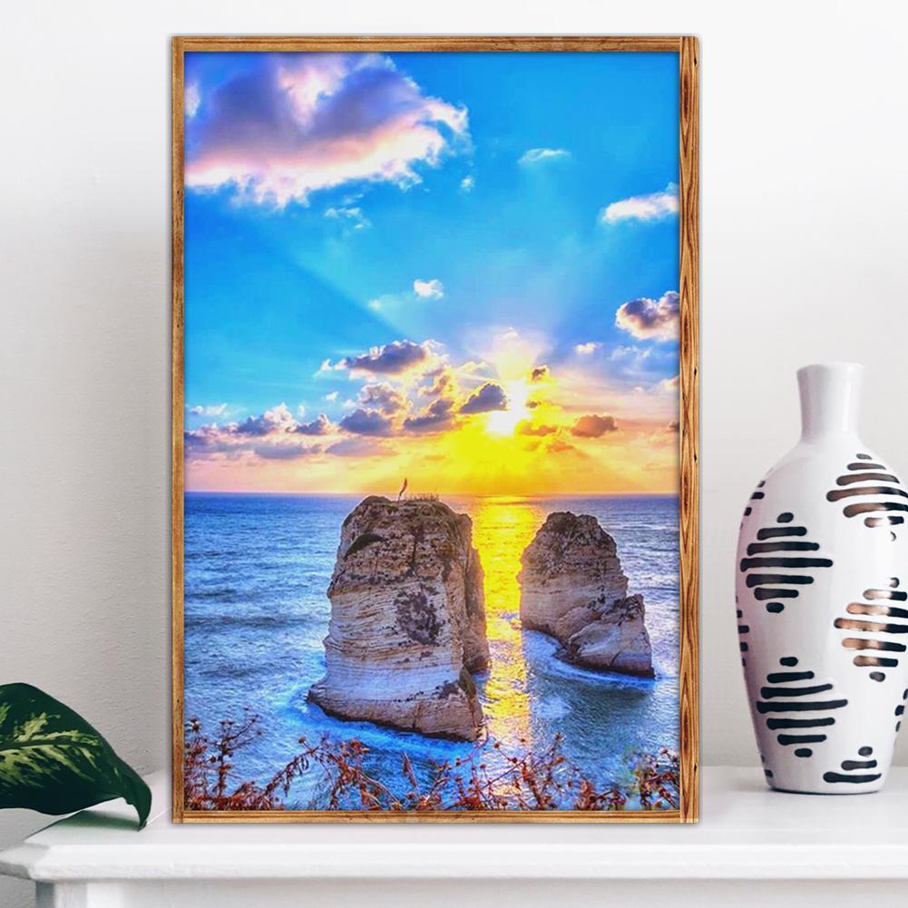 DIY Lukisan Diamond 5D Dengan Gambar Pemandangan Dan Hiasan Berlian Buatan