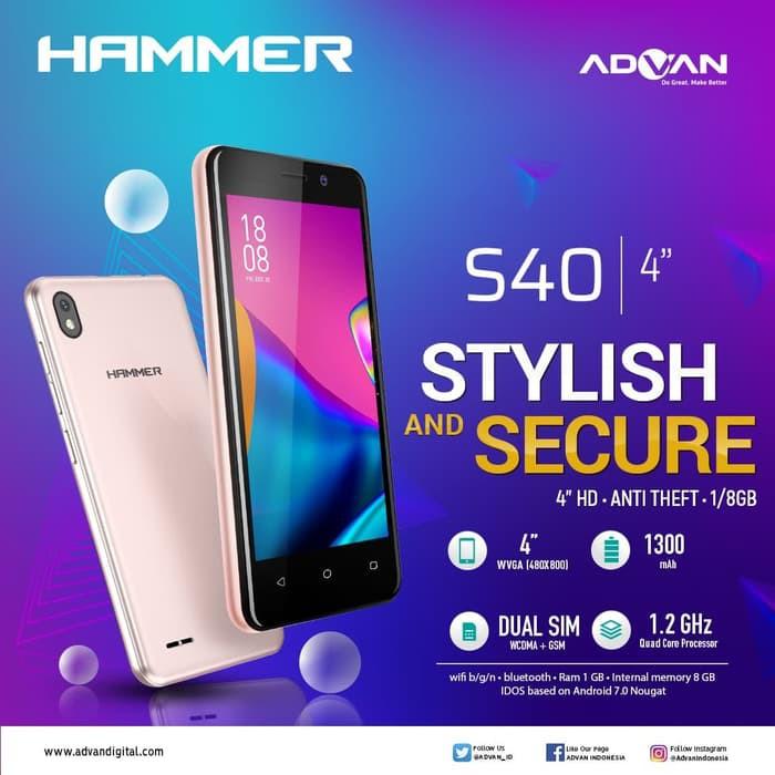 ADVAN VANDROID S40 HAMMER / RAM 1GB+ROM 8GB - GARANSI RESMI 1 TAHUN