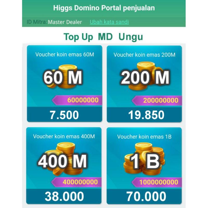 Chip MD Ungu 60M, 200M & 400M  Koin Higgs Domino