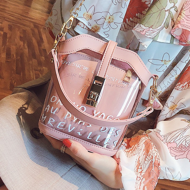 Peri musim panas baru diagonal lintas jelly rantai bahu messenger tas transparan | Shopee Indonesia