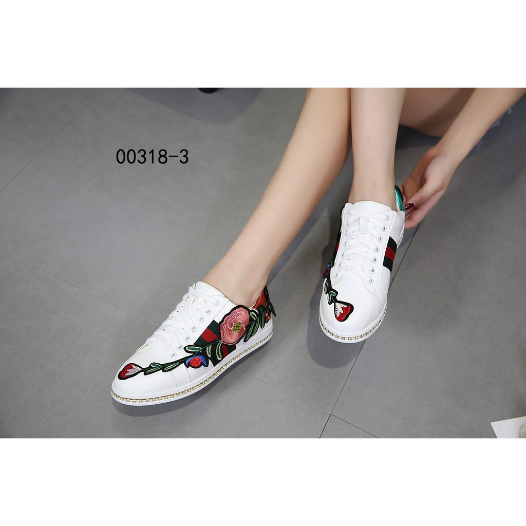 66440385b Gucci Ace Floral Embroidered Sneaker Seri : 318-3 | Shopee Indonesia