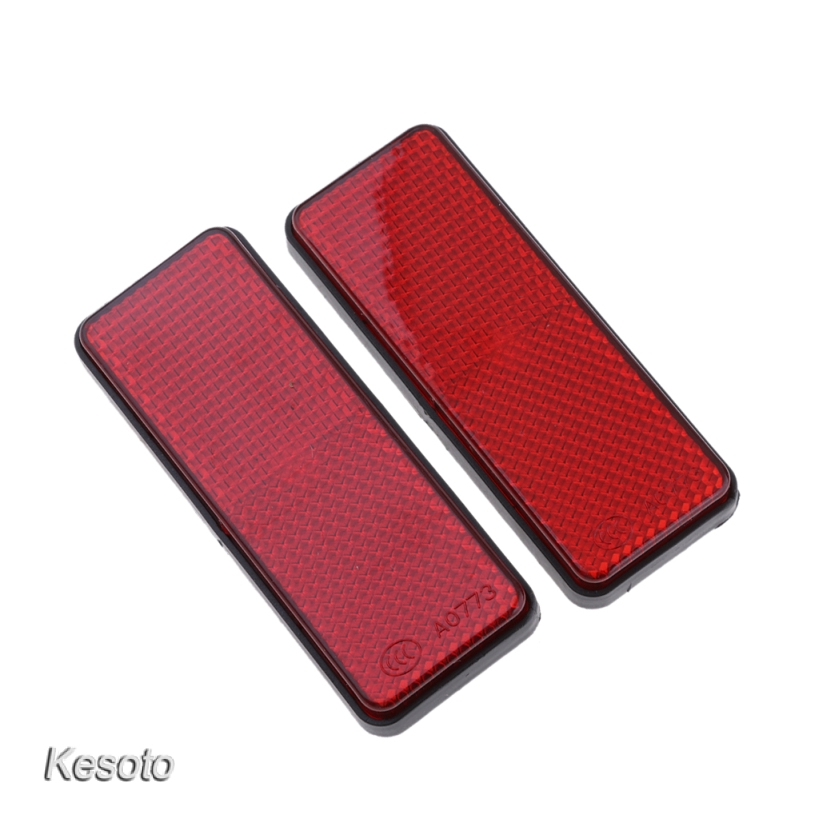 kesoto Pair Universal Rectangle Reflectors for Motorcycle ATV Bikes Scooter Red