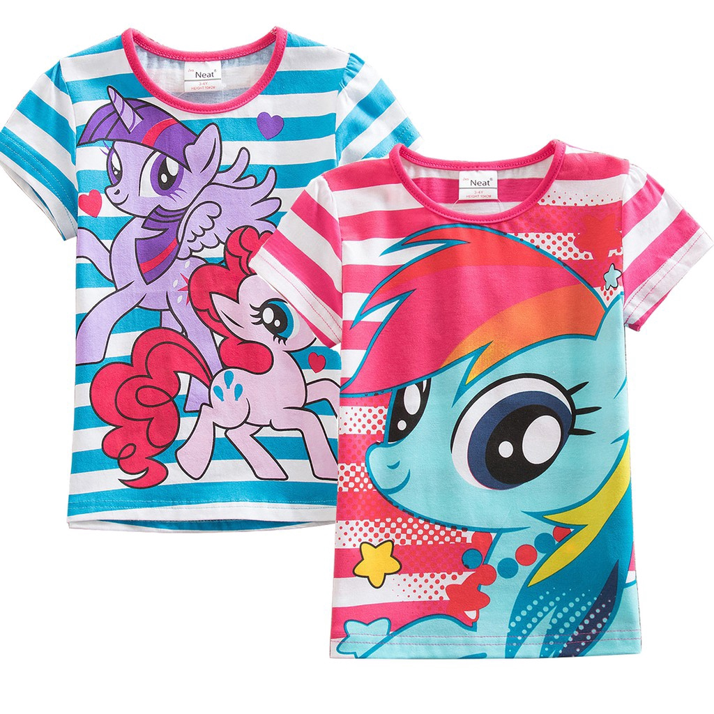Kaos T Shirt Casual Lengan Pendek Dengan Gambar Kartun Unicorn My Little Pony Untuk Perempuan