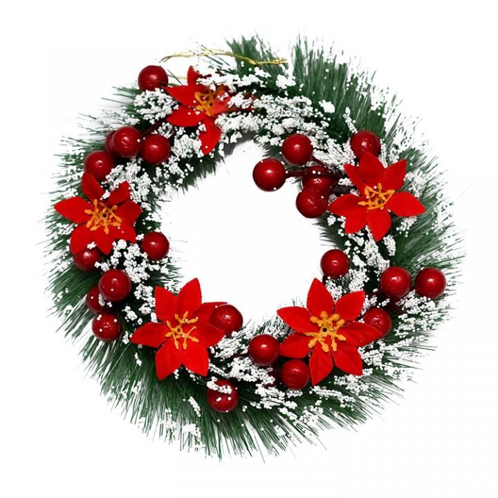 Hiasan Krans Natal Salju Poinsettia Merah 25cm Dekorasi Dinding Natal Hiasan Natal